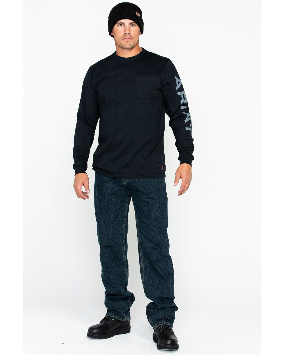 Ariat Men's Solid Fire Resistant Pocket Logo Long Sleeve Work Shirt , Black, hi-res