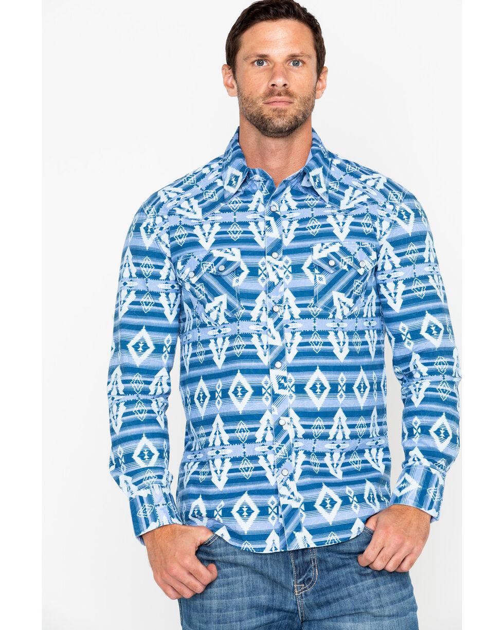 Rock & Roll Cowboy Men's Striped Aztec Print Long Sleeve Western Shirt, Light Blue, hi-res