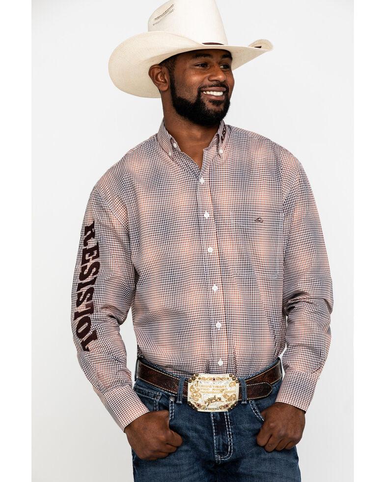 Resistol Men's Navy Cole Check Plaid Logo Long Sleeve Western Shirt , Multi, hi-res