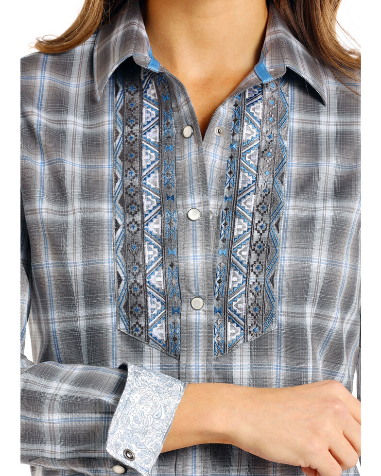 Rough Stock by Panhandle Women's Logan Vintage Ombre Plaid Shirt, Grey, hi-res
