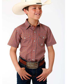 Amarillo Boys' Clay Foulard Geo Print Short Sleeve Western Shirt , Orange, hi-res