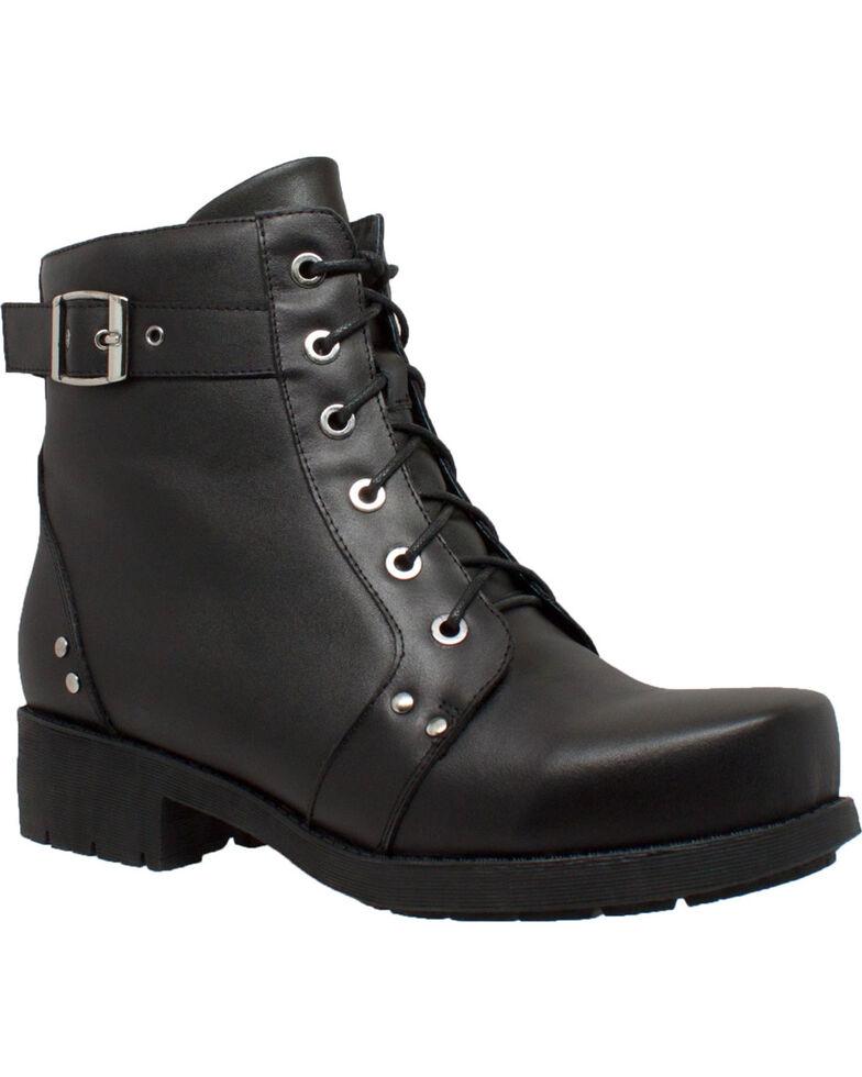 """Ad Tec Women's 7"""" Black Leather Biker Boots  , Black, hi-res"""