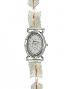 Montana Silversmiths Women's Graceful Movement Rose Gold Feather Watch , Silver, hi-res