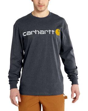 Carhartt Men's Long Sleeve Logo T-Shirt, Grey, hi-res