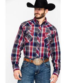 Roper Men's Large Red Plaid Long Sleeve Western Shirt , Red, hi-res