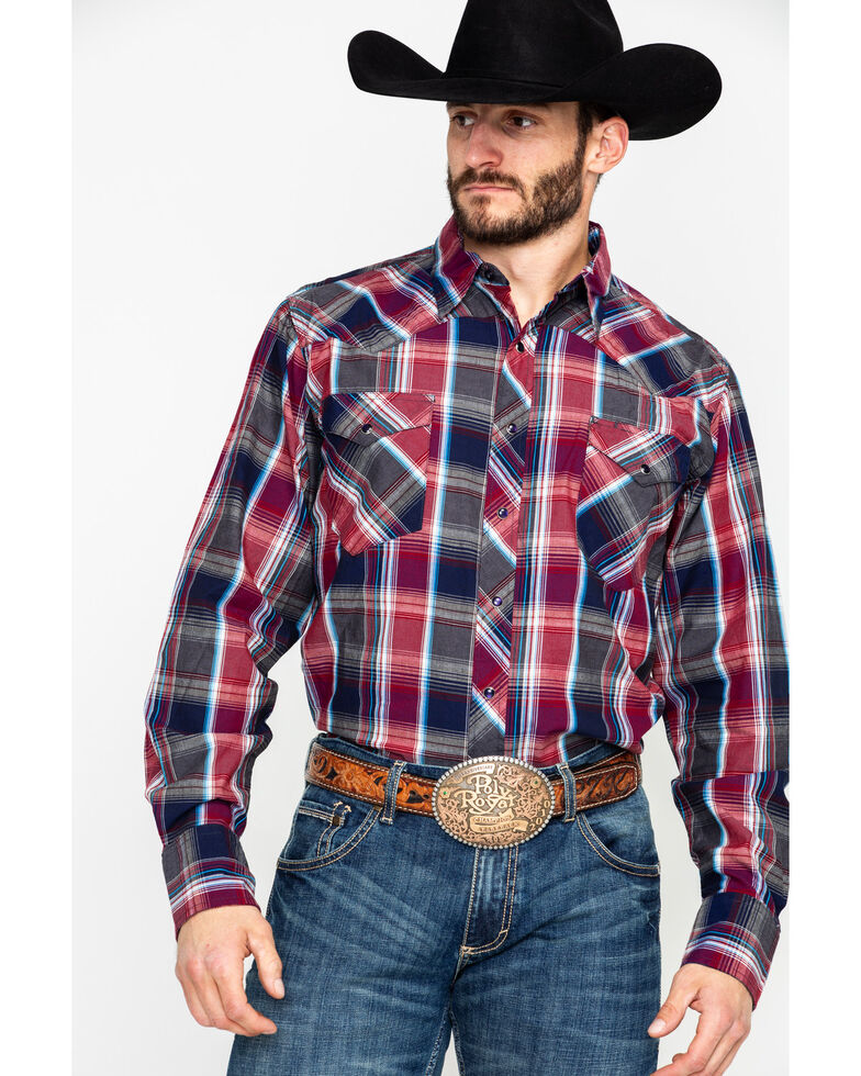 Roper Men's Large Red Plaid Long Sleeve Western Shirt , Red, hi-res