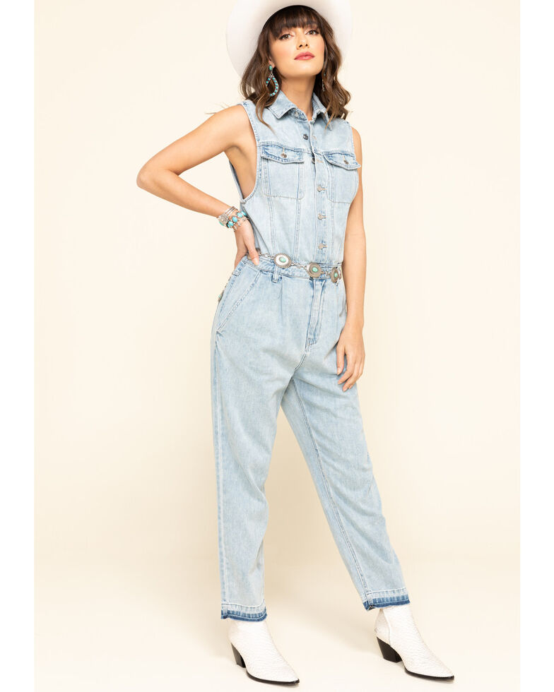 Free People Women's Fast Cars Light Wash Denim Jumpsuit, Blue, hi-res