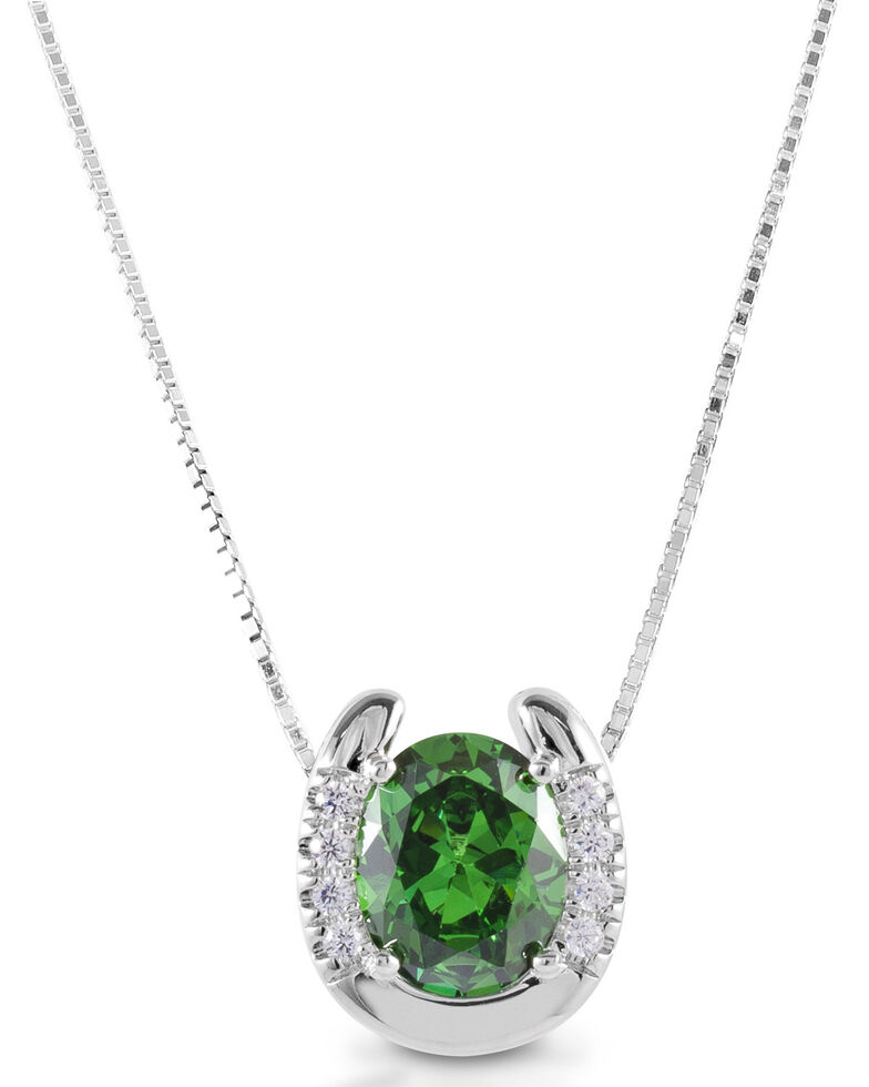 Kelly Herd Women's Green Stone Horseshoe Necklace  , Silver, hi-res