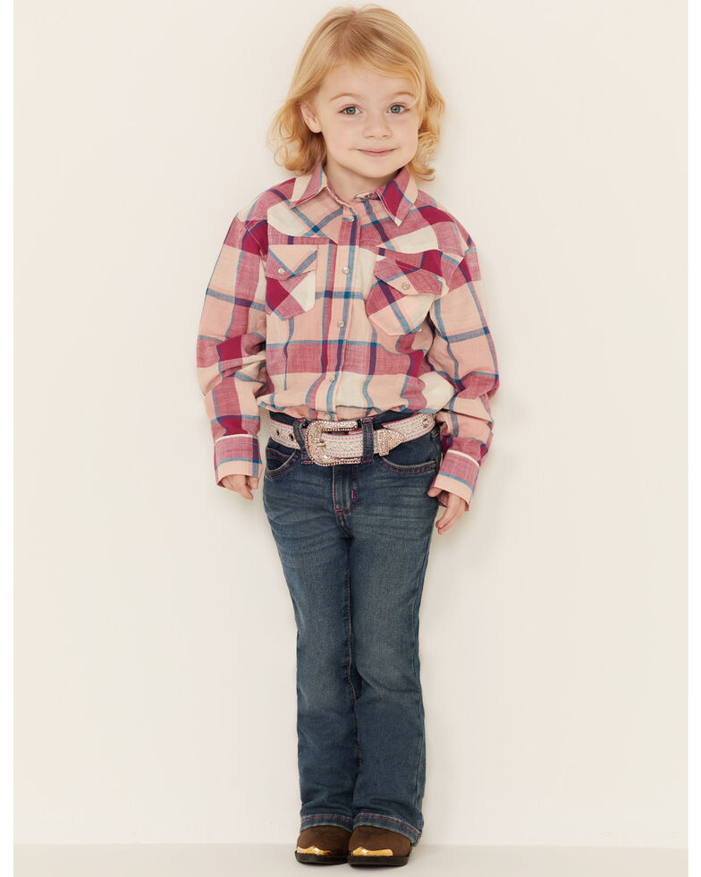 Shyanne Toddler Girls' Pink Fuscia Plaid Long Sleeve Western Core Shirt , Fuscia, hi-res