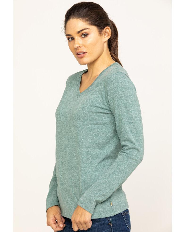 Carhartt Women's Brown Lockhart Long Sleeve V-Neck Shirt , Heather Green, hi-res