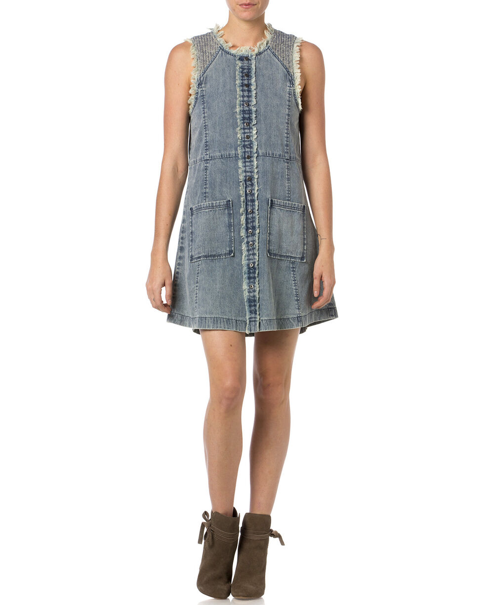 Miss Me Frayed Denim Sleeveless Dress , Indigo, hi-res