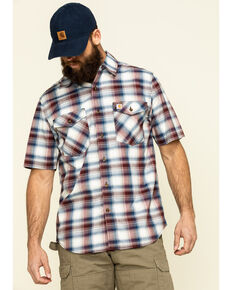 Carhartt Men's Red Rugged Flex Bozeman Plaid Short Sleeve Work Shirt , Red, hi-res
