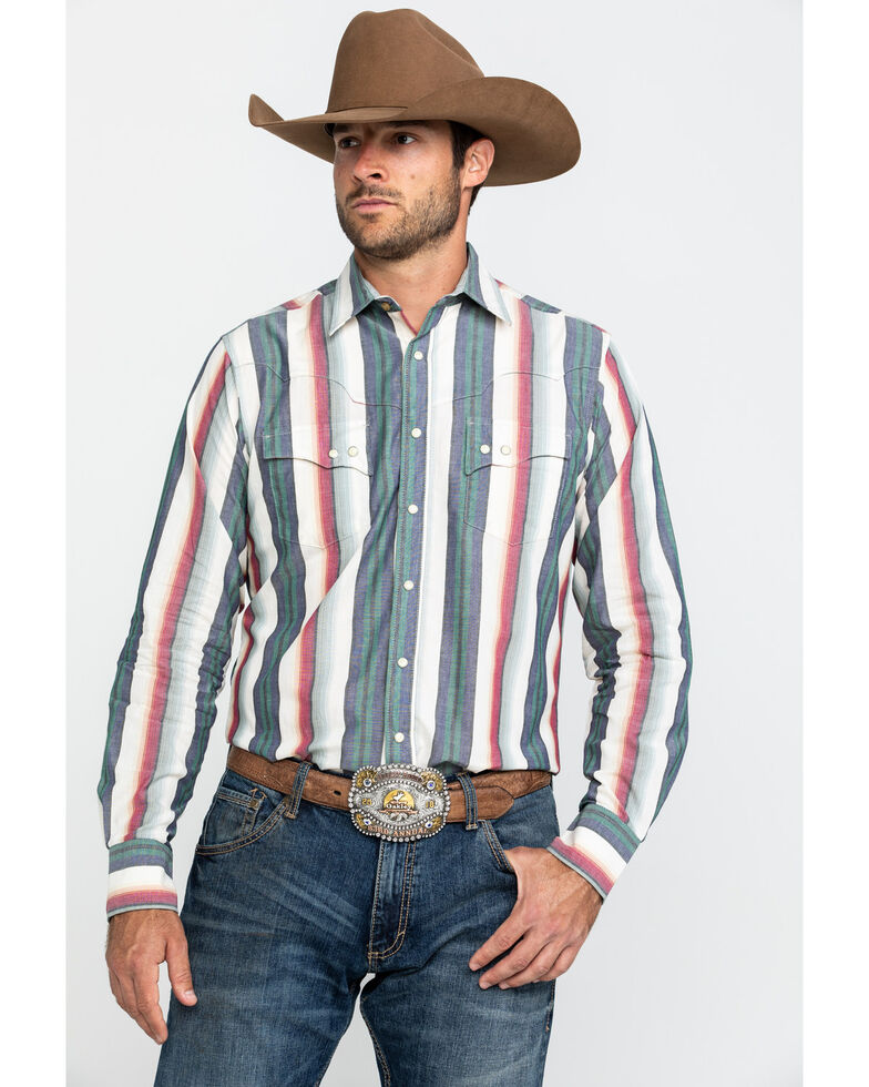 Wrangler Retro Men's Ivory Multi Striped Long Sleeve Western Shirt , Ivory, hi-res