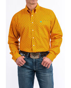 Cinch Men's Orange Geo Print Tencel Long Sleeve Western Shirt , Orange, hi-res