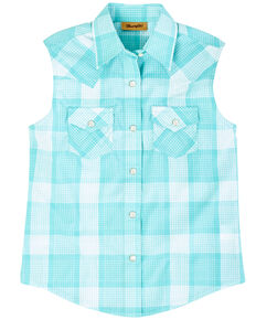 Wrangler Girls' Turquoise Plaid Sleeveless Western Shirt , Turquoise, hi-res