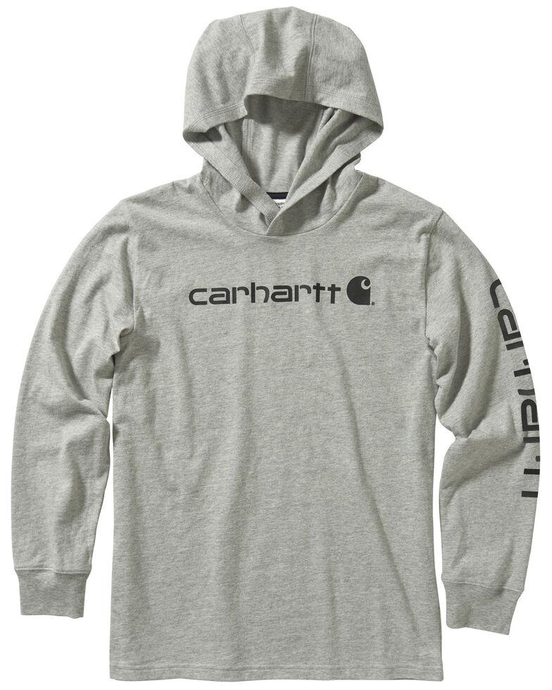 Carhartt Boys' 4-7 Heather Grey Sleeve Logo Hooded Sweatshirt , Heather Grey, hi-res