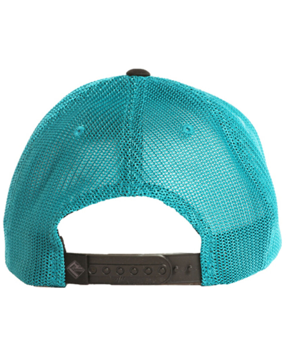 Rock & Roll Cowboy Men's Geometric Mesh Ball Cap, Teal, hi-res