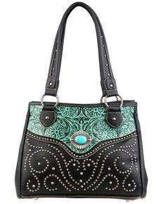 Montana West Trinity Ranch Tooled Design Handbag, Turquoise, hi-res