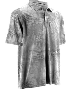 Huk Fishing Performance Kryptek ICON Short Sleeve Polo Shirt , Grey, hi-res