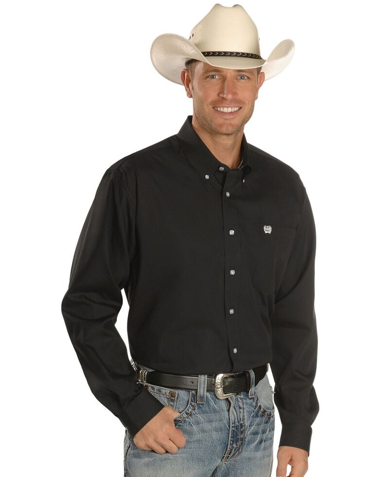 Cinch Men's Solid Black Button-Down Western Shirt - Big & Tall, Black, hi-res