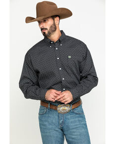 Cinch Men's Black Dot Geo Print Button Long Sleeve Western Shirt , Black, hi-res