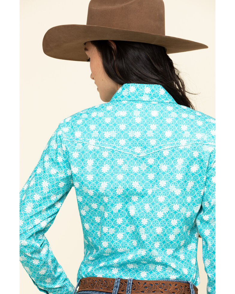 Cowgirl Hardware Women's Turquoise Floral Geo Snaps Western Shirt, Turquoise, hi-res