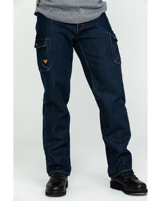 Hawx® Men's Fleeced Lined Stretch Denim Work Jeans, Indigo, hi-res