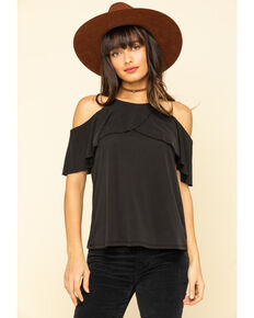 Moa Moa Women's Solid Cold Shoulder , Charcoal, hi-res