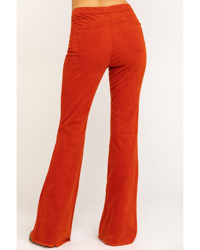 Cello Women's Corduroy Frayed Super Flare Pants, Rust Copper, hi-res