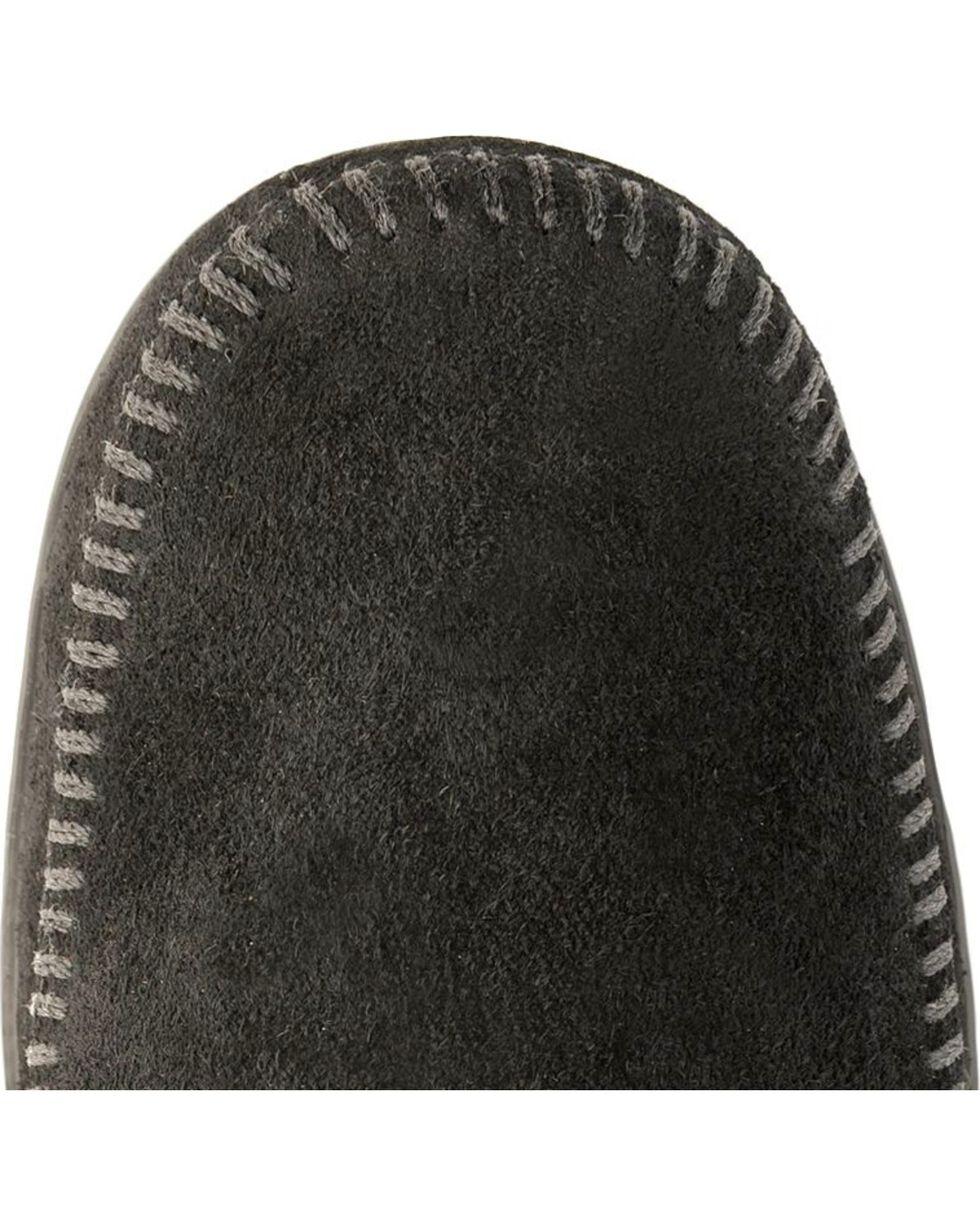 Minnetonka Feather & Concho Fringe Bootie Moccasins, Black, hi-res