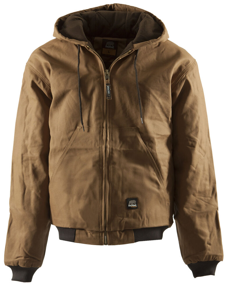 Berne Men's Duck Original Hooded Jacket - 3XL and 4XL, Brown, hi-res