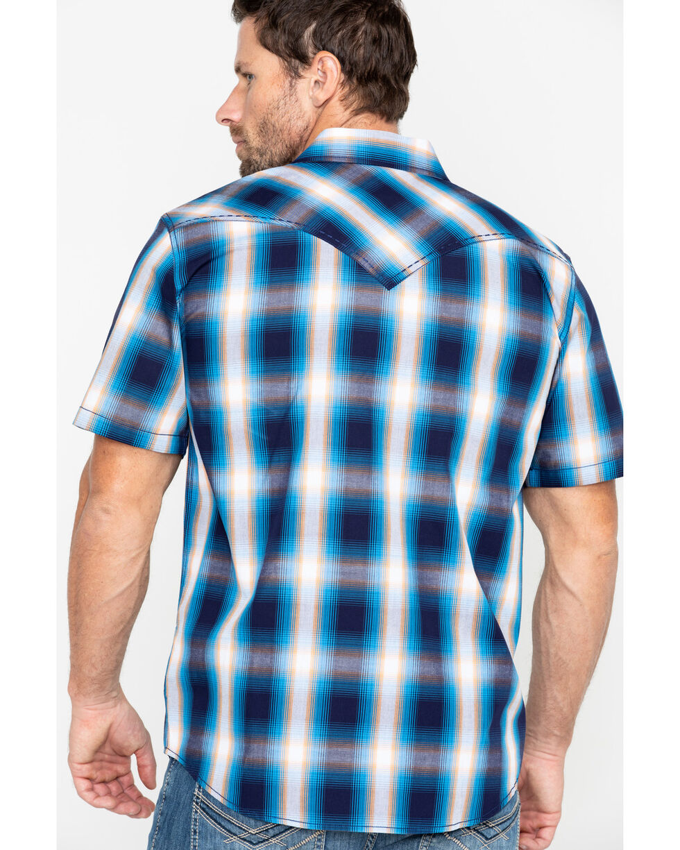 Cody James Men's Sunset Valley Ombre Plaid Short Sleeve Western Shirt - Tall , Navy, hi-res