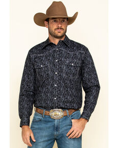 Cowboy Hardware Men's Black Tonal Paisley Print Long Sleeve Western Shirt , Black, hi-res