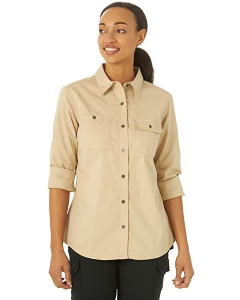 Wrangler Riggs Women's Solid Khaki Vented Long Sleeve Button-Down Work Shirt  , Beige/khaki, hi-res