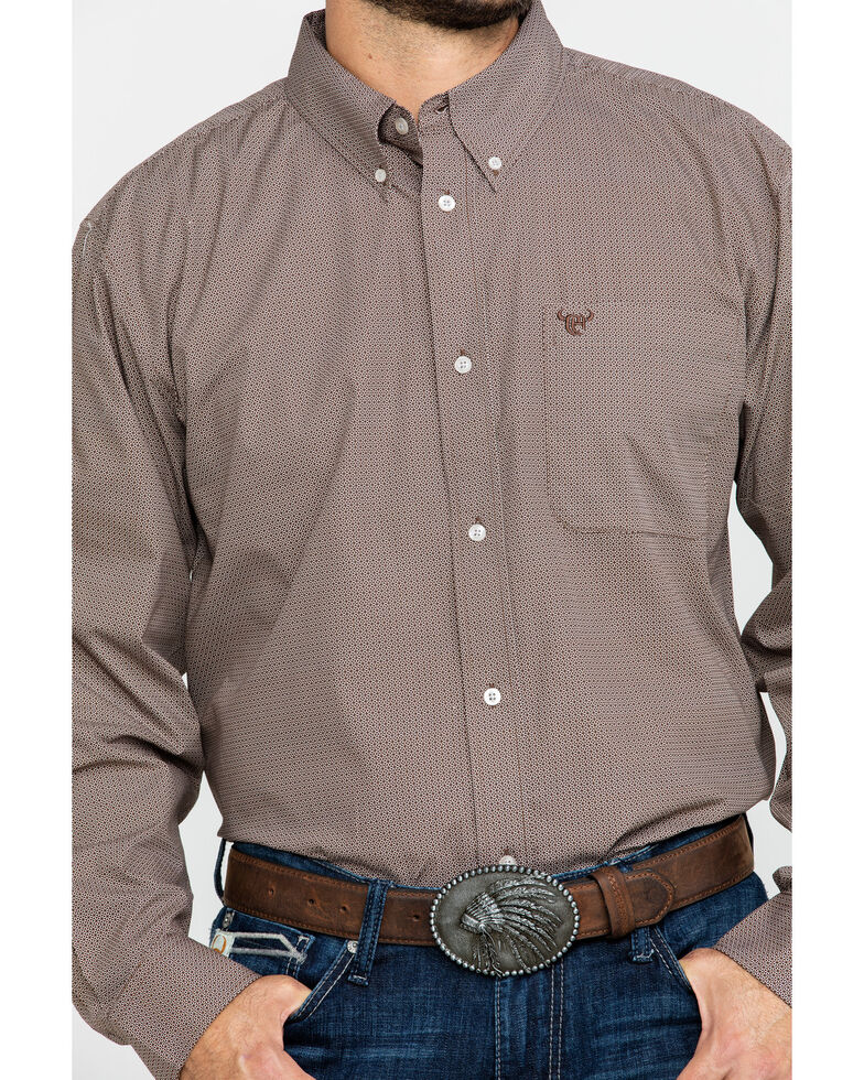 Cowboy Hardware Men's Micro Star Geo Print Long Sleeve Western Shirt , Chocolate, hi-res