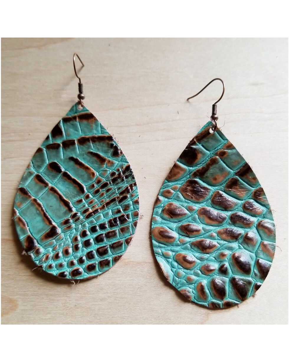 Jewelry Junkie Women's Brown & Turquoise Gator Print Teardrop Leather earrings, Multi, hi-res