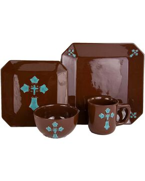 HiEnd Accents 16-Piece Cross Dinnerware Set, Brown, hi-res
