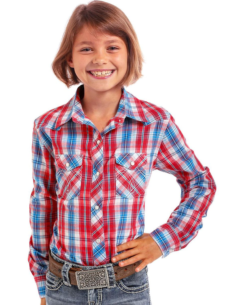 Panhandle Girls' Red, White, and Blue Western Shirt , Red, hi-res