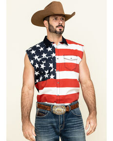 Cody James Men's American Flag Bubba Sleeveless Western Shirt , Red, hi-res