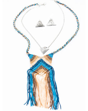 Shyanne Women's Chloe Blue Chevron Fringe Yarn Necklace Set, Multi, hi-res
