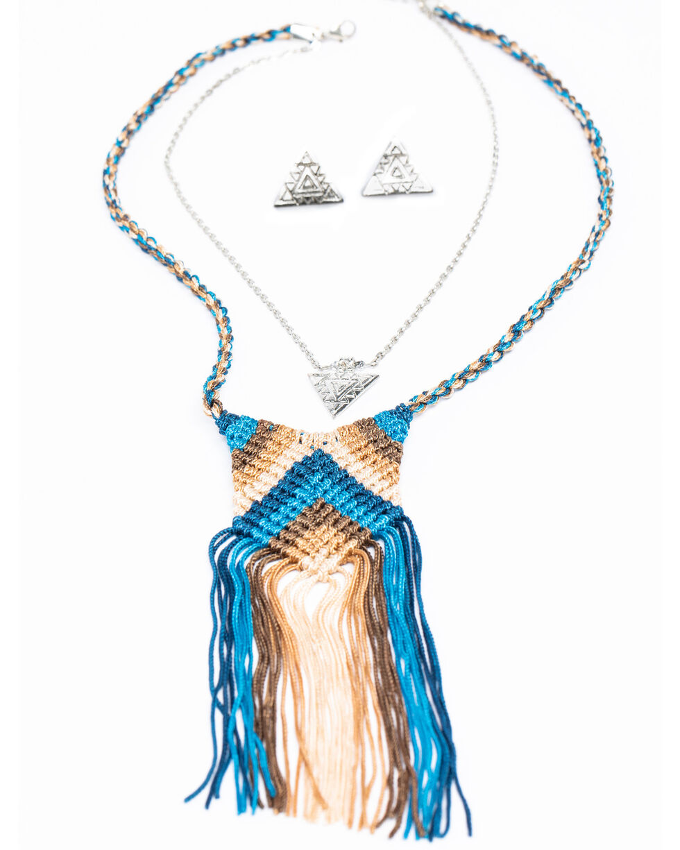 Shyanne Women's Chloe Blue Chevron Fringe Yarn Necklace Set, Multi, hi-res