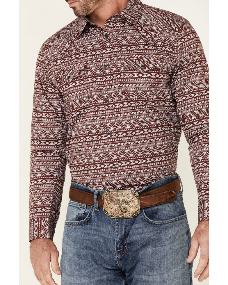 Cody James Men's Sioux Aztec Print Long Sleeve Snap Western Shirt , Burgundy, hi-res