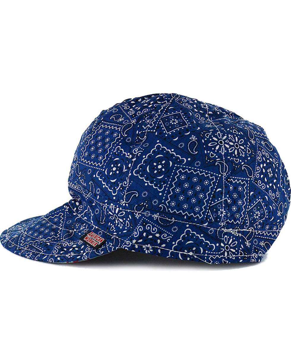 American Worker Men's Paisley Blue Welding Cap, , hi-res