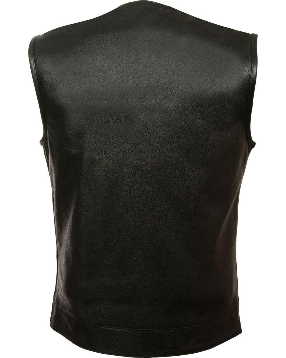 Milwaukee Leather Men's Black Collarless Zip Front Club Style Vest - Big 5X, Black, hi-res