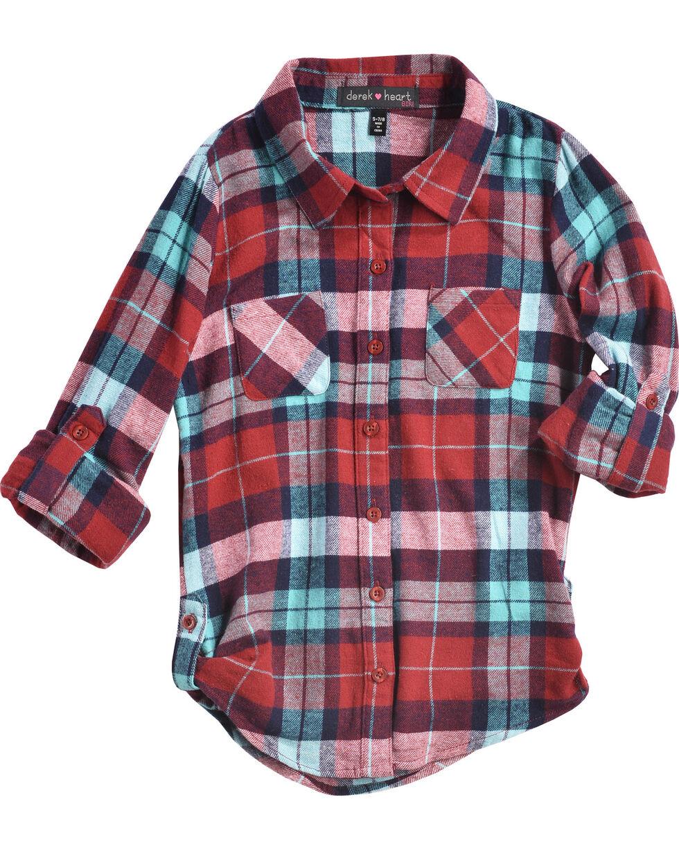 Derek Heart Girls' Flannel Plaid Tab Sleeve Tunic, Wine, hi-res