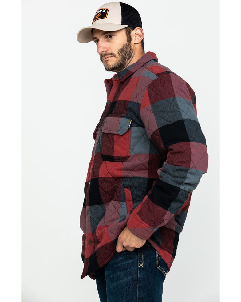 Hawx Men's Red Quilted Plaid Shirt Work Jacket , Red, hi-res