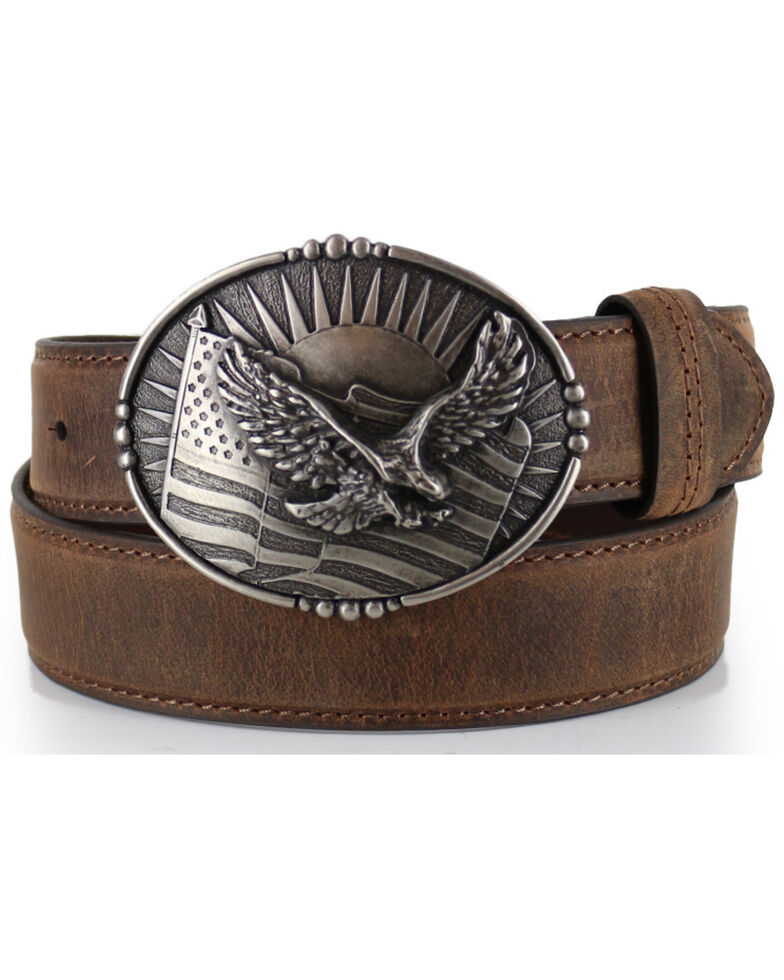 Cody James® Men's Patriotic Eagle Leather Belt, Brown, hi-res
