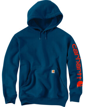 Carhartt Men's Blue Midweight Hooded Logo Sweatshirt , Blue, hi-res