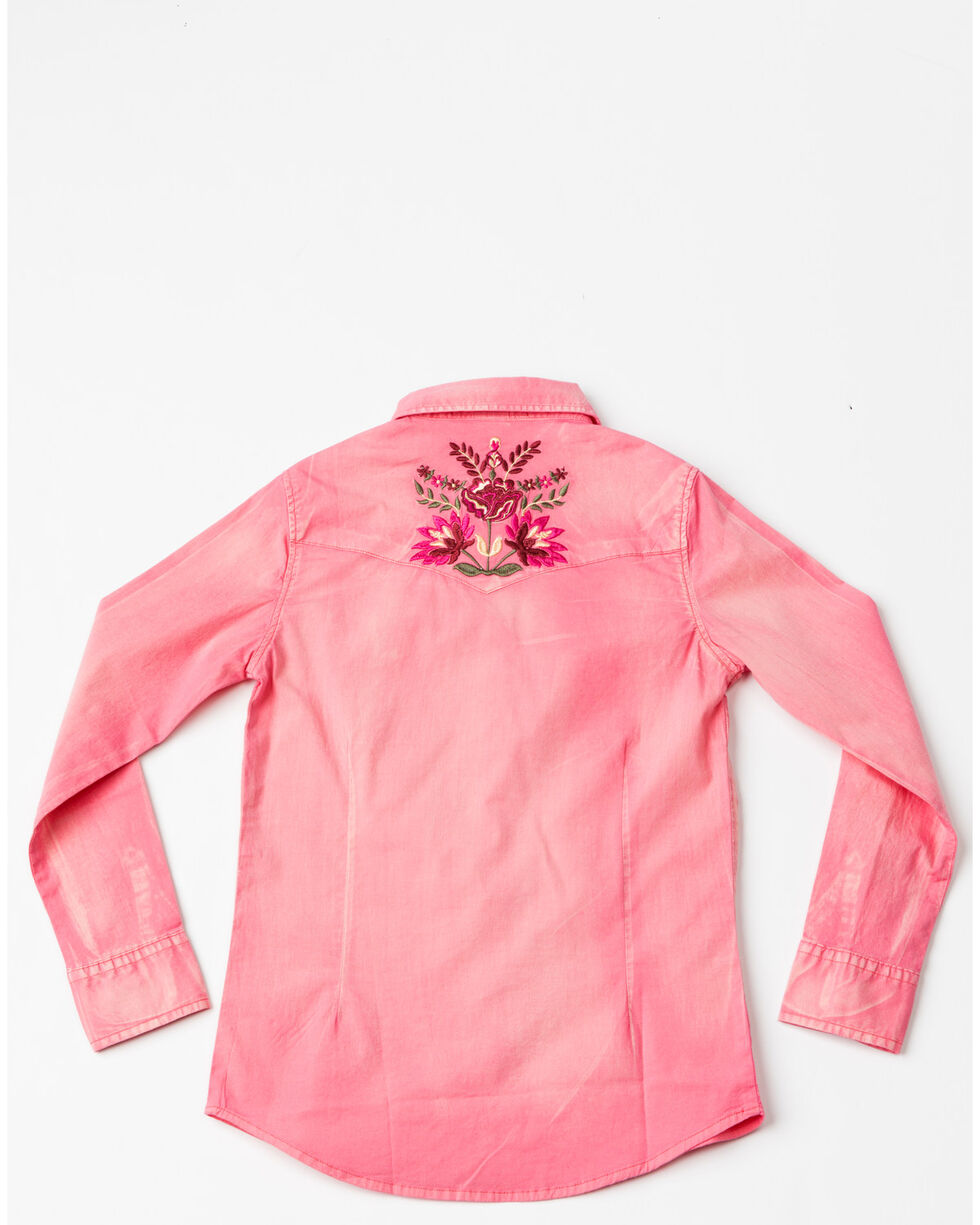 Shyanne Girls Solid Washed Floral Embroidered Woven Top , Coral, hi-res