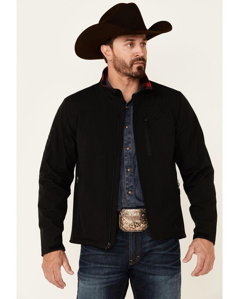 HOOey Men's Solid Black Sleeve Logo Zip-Front Softshell Jacket , Black, hi-res